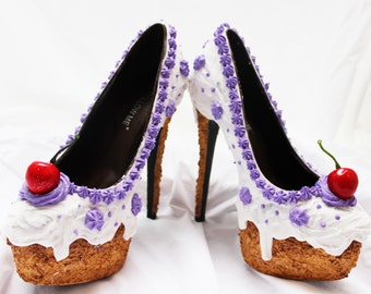 White Iced Cake Heeled Shoes