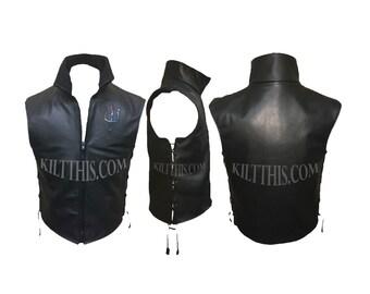 Leather Vest with Rainbow Scale Trident on Lapel Zipper Closure Fleece Liner (optional)