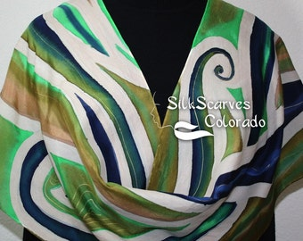 Silk Scarf Green Beige Blue Hand Painted MOUNTAIN FALLS, Size LARGE 14x72, by Silk Scarves Colorado. Birthday, Mother Gift. Christmas Gift.