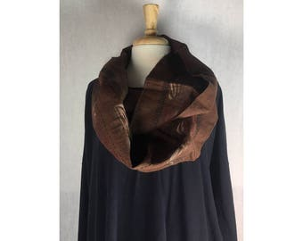 Infinity Boho Loop Circle Scarf - Bark Brown Linen w/ Art Nouveau  Hand printed Scarves  Ready to Ship