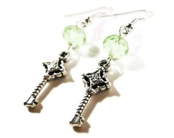 Key Charm Earrings, Silver Key Earrings, Peridot Green Crystal Bead Earrings, Beadwork Jewelry, Drop Earrings, Beaded Dangle Earrings
