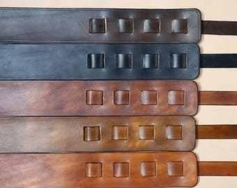 Handmade Custom Guitar Strap - Veg Tanned Leather, Choice of Colours and designs