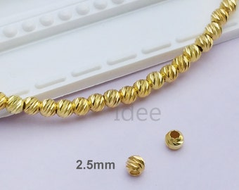 2.5mm silver Italy diamond cut beads, Solid 925 Sterling Silver with Gold plated, Vermeil.  F33
