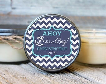 Set of 12 - 4 oz Baby Shower Favor Candles//Anchor Design//Boy Baby Shower Favors // Boy Baby Sprinkle // Soy Candle Favors