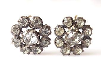 Antique Georgian c.1800s Paste cluster Earrings, Regency