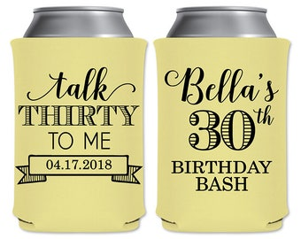 Personalized Beer Can Foam Coolers Custom Beverage Insulator Dirty 30th Birthday Party Favors | Talk Thirty To Me (1A) | READ DESCRIPTION