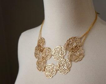 Gold Statement Necklace, Bib Statement Necklace, Multi Strand Necklace, Cloud Necklace, Gold Filigree Necklace, Statement Wedding Necklace