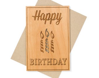 Unique Birthday Gift Wood Card. Celebration Birthday Card for Girlfriend, Sister, Mom.