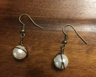 White beaded wire earrings