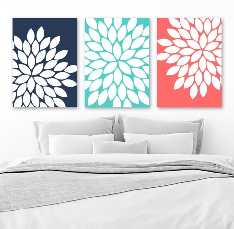FLOWER Wall Art Navy Turquoise Coral Bedroom Art Flower