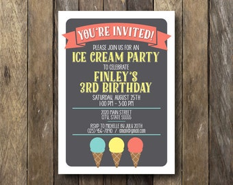 Printable Ice Cream Party Invitation - Ice Cream Birthday Invite - Printable Invitation