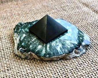 Shungite Pyramid, EMF, Seraphinite, Shungite, Seraphinite Slab, EMF Protection, Radiation Protection, Russian minerals
