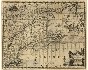 Map of New England & Nova Scotia, Newfoundland, Cape Breton; Antique Map
