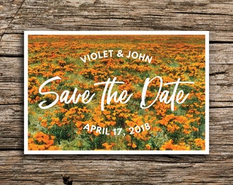 Wildflowers Save the Date Postcard // California Save the Dates Wildflower Wedding Invitation Desert Central Valley Orange Poppies