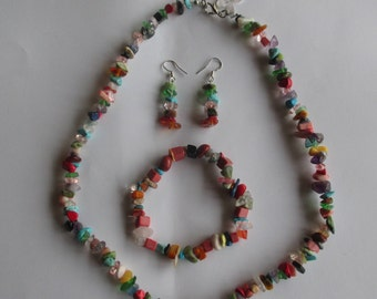 Mixed semi precious stone necklace, earring and bracelet set