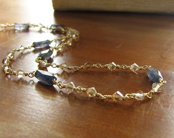 Long Gold Krystle Chain Featuring Iolite