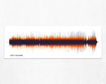 I Got You Babe Lyrics Sound Wave Art Print, Framed Print, or Canvas - Music/Song Audio Wave Art Print - Gift Idea for Music Lovers, Musicans