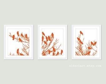 Birds on Tree - Digital Print Set - Pumpkin Orange and White - Modern Home Decor - Woodland Tree - Crow Raven Bird - Halloween Decor