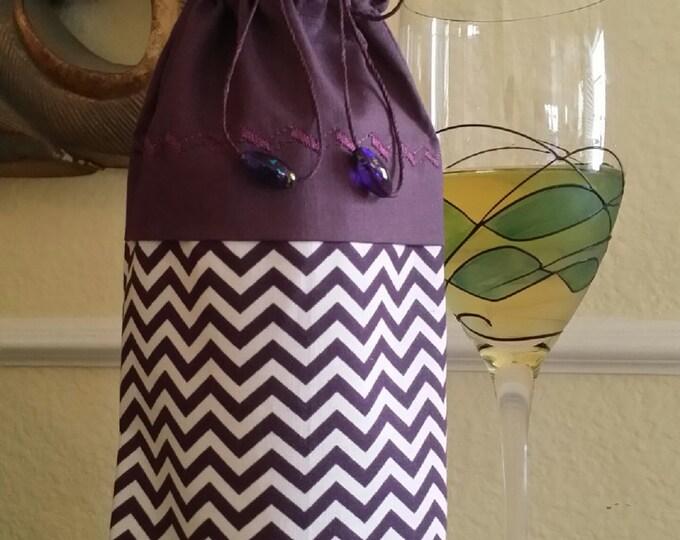 Wine Bag-Deluxe-Artsy Collection (Plum Chevron)