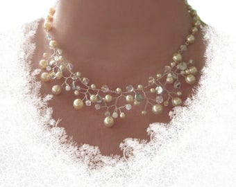Necklace Bridal Jewelry Wedding pearls necklace, Bridal necklace ivory pearls, wedding jewelry chain, Pearl Necklace