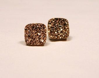 Rose Gold Druzy Stud Earrings Metallic Square Bold Genuine Titanium Drusy Pink Quartz Gemstone Jewelry for Women on Sterling Silver Posts