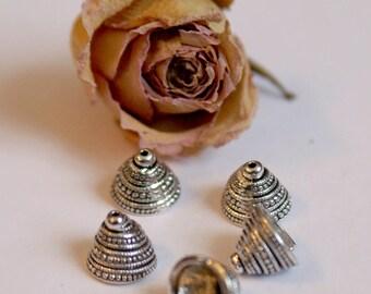 Caps bells X 3 mm argent13X10 color shells