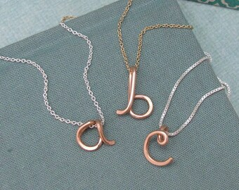 Personalized 14k Rose Gold Filled Initial Pendant