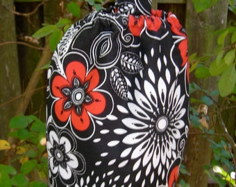 Grocery Bag Holder Black Red Modern Flowers