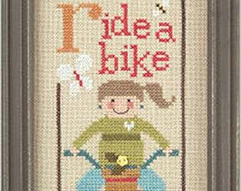 Lizzie Kate Green Flip-It Series - Ride A Bike F93 Counted Cross Stitch Pattern with Button