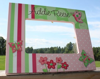 Pretty Butterflies Girls Personalized Photo PICTURE FRAME for Kids Bedroom Baby Nursery PF0072