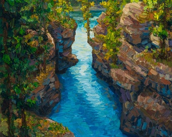 """Sale - Athabasca River Canyon - Original 10""""x15"""" Impressionism Oil Painting - Canadian Jasper Rocky Mountain Landscape FREE SHIPPING"""