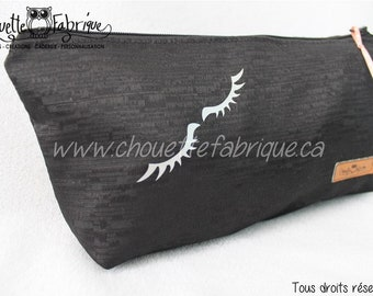 Black cosmetic bag / Eyelashes Silver / silver Eyelash / makeup case / toiletry bag / portable / lined with closure