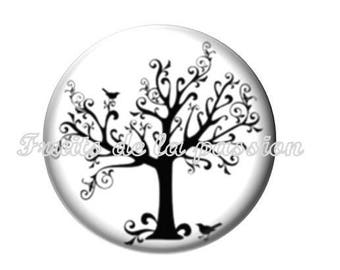 Set of 2 20mm, nature, trees, round glass cabochons