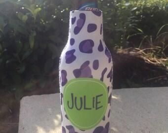 CHEETAH personalized monogram bottle beverage insulator - zippered back for longnecks - weddings, bachelorette, parties, beaches