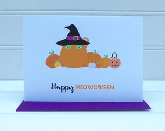 Cat Halloween Card, Happy Meowoween Card, Happy Halloween Card, Cute Orange Cat Card, From the Cat, For Cat Mom, Cat Dad, Cat Lover, Cat