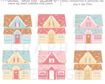 DOLLHOUSE clipart set, doll house digital illustration clipart set, instant download small commercial use clipart set