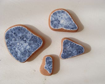 Set of 4  blue sea pottery,Italian Genuine Beach Pottery, Mosaic Pieces, Sea Pottery, Beach Finds, Craft Supplies.
