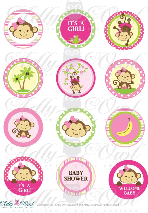Pink girl monkey baby shower cupcake toppers or favor tags for Monkey birthday cake template