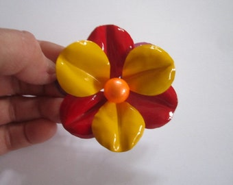 Vintage Mid Century Mod Large Colorful Flower Brooch
