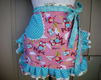 Womens Aprons - Owl Aprons - Monogrammed Aprons - Fun and Flirty Aprons - Pink and Blue Owl Apron - Ruffled Owl Apron - Annies Attic Aprons