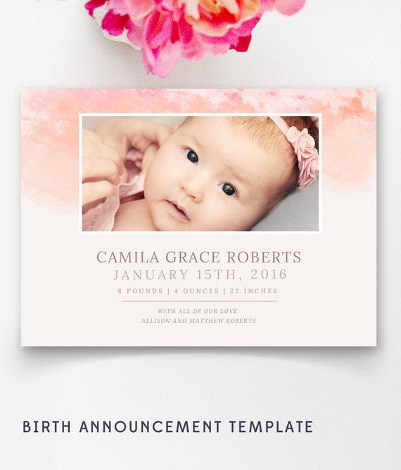 Modern Birth Announcement Template Photo Birth Announcement - Electronic birth announcement template
