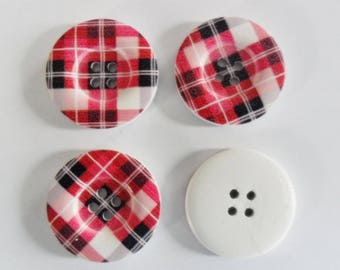 4 large buttons 30 mm wood Plaid - black white dark pink - 4 holes