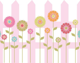 NEW LOOK Kids fence with flowers vinyl wall decal cute for any nursery or girls room