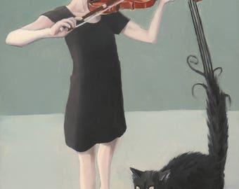 Duet. print of an original surreal oil painting