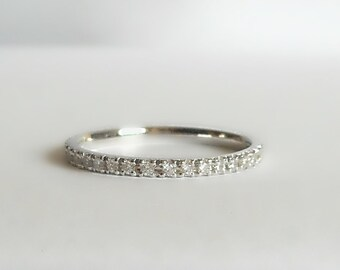 Micro Pave Diamond Eternity Band in 14 K. white,yellow or pink(rose) gold hand made in U.S.