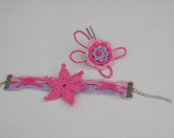 Pink crochet flower bracelet and hairpin, crochet flower, crochet hairpin, crochet jewelry, crochet accessory, crochet bracelet, textile