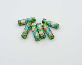 4x12mm Tube Shape Green Cloisonne Bead, sold by 6 pcs.
