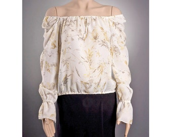 IVORY Sheer BLOUSE US size 8 and 10 with beautiful pattern, Off Shoulder Blouse, Summer Blouse, Long sleeve blouse