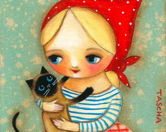 Siamese cat and Babushka PRINT cute cat folk art painting by Tascha