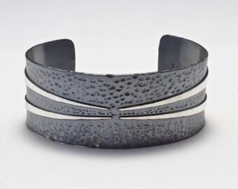 Oxidized Sterling Cuff Bracelet, Hammered Cuff, Statement Cuff, Silver Cuff Bracelet, Artisan Cuff, Men's Cuff Bracelet, Women's cuff